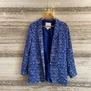 MONKI Blazer Jacket Blue with Flowers Size XS Fits S. Bought in France